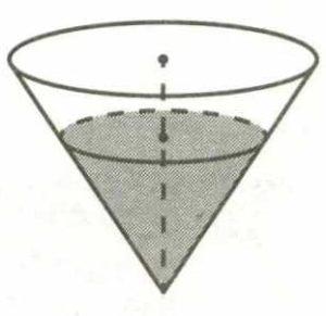 В сосуде, имеющем форму конуса, уровень жидкости достигает высоты.