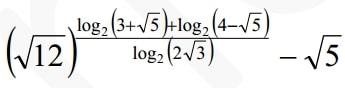 Вычислите (√12)^log2(x+√5)+log2(4-√5)log2(2√3)-√5