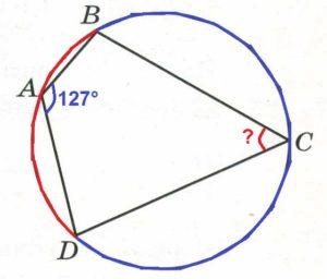 Четырёхугольник АВСD вписан в окружность. Угол ВАD равен 127°. Найдите угол ВСD. Ответ дайте в градусах.