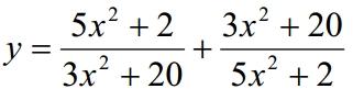 Решение №1061 Найдите наименьшее значение функции y = (5x^2+2)/(3x^2+20)+(3x^2+20)/(5x^2+2)