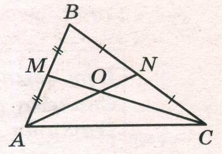 Точки М и N являются серединами сторон АВ и ВС треугольника АBС соответственно.