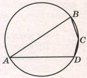Угол А четырёхугольника АВСD, вписанного в окружность, равен 33°.
