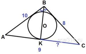 В треугольник ABC со сторонами AB = 10 и BC = 8 вписана окружность с центром O. Прямая BO пересекает сторону AC в точке K. Найдите CK, если AC = 9.