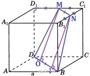Дан куб ABCDA1B1C1D1. Через точки B, D и середину ребра D1C1 проведена секущая плоскость.