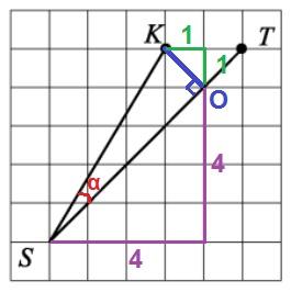Решение №1146 Найдите тангенс угла KST (cм. рис.)