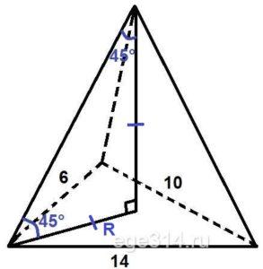 Основанием пирамиды служит треугольник со сторонами 6, 10 и 14.
