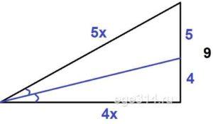 В прямоугольном треугольнике биссектриса острого угла делит противоположный катет на отрезки длиной 4 и 5.