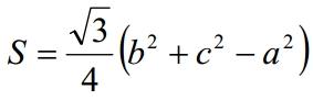 Решение №1134 В треугольнике ABC длины сторон и его площадь связаны соотношением S=√3/4(b^2+c^2-a^2).