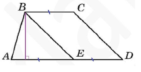 Решение №1298 Прямая, проведенная параллельно боковой стороне трапеции через конец меньшего основания, делит большее основание пополам ...