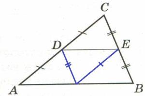 В треугольнике АВС средняя линия DЕ параллельна стороне АВ.