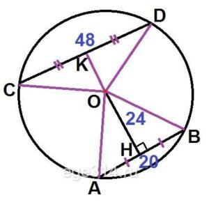 CD = 48, а расстояние от центра окружности до хорды АВ равно 24.