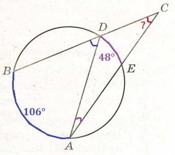 Решение №1230 Градусная мера дуги АВ окружности, не содержащей точку D, равна 106°.