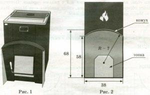 Хозяин выбрал дровяную печь. Чертёж печи показан на рис. 2. Размеры указаны в см.