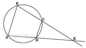 Известно, что около четырехугольника АВСD можно описать окружность и что продолжения сторон АD и ВС