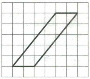 На клетчатой бумаге с размером клетки 1x1 изображён параллелограмм.