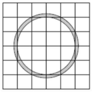 Найдите площадь S (в см2) закрашенного кольца, изображенного на клетчатой бумаге.