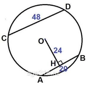 Отрезки АВ и СD являются хордами окружности. Найдите расстояние от центра окружности до хорды СD