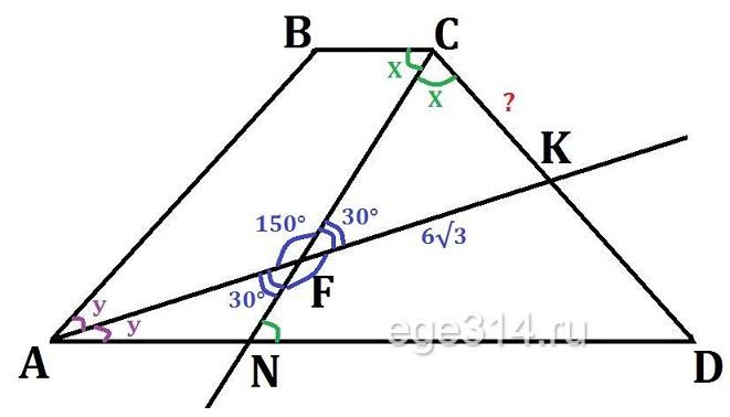 В равнобедренной трапеции АВСD с большим основанием АD биссектриса угла А