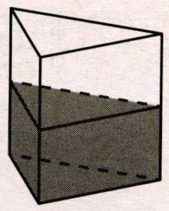 В сосуд, имеющий форму правильной треугольной призмы, налили 1100 см3 воды и полностью в неё погрузили деталь.