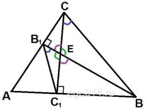 Высоты BB1 и СС1 остроугольного треугольника АBС пересекаются в точке Е.
