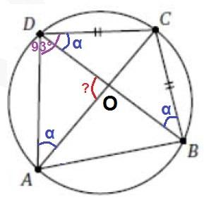 Четырёхугольник ABCD вписан в окружность, причём BC = CD. Известно, что угол ADC = 93º.