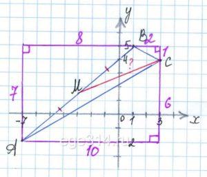 Дан треугольник АВС с вершинами А(–7; –2), В(1;5), С(3;4).