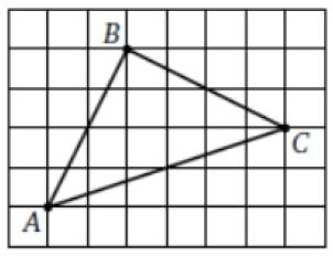 На клетчатой бумаге с размером клетки 1х1 изображен треугольник АВС.