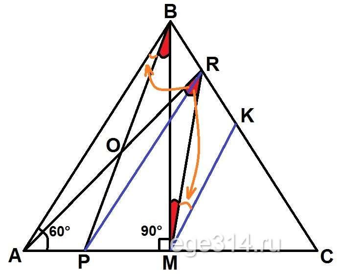Точка M – середина стороны AC равностороннего треугольника ABC.