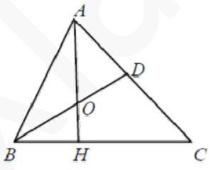 В треугольнике АВС проведены высота АН и биссектриса BD, которые пересекаются в точке О.