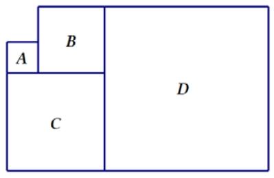 Изображенные на рисунке фигуры А, В, С, D – квадраты.