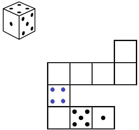 Решение №1484 Игральный кубик прокатили по столу. На рисунке изображён след кубика.