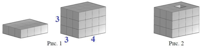 Решение №1542 Из одинаковых кубиков сложили фигуру, а затем положили на неё сверху ещё две такие же фигуры из кубиков (рис. 1).