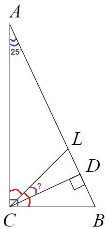 В прямоугольном треугольнике ABC с гипотенузой AB провели высоту CD и биссектрису CL.
