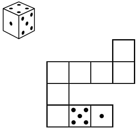 Игральный кубик прокатили по столу.