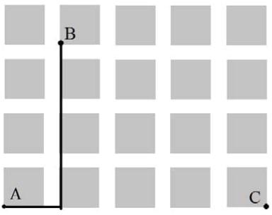 На плане одного из районов города клетками изображены кварталы, каждый из которых имеет форму квадрата со стороной 100 м.