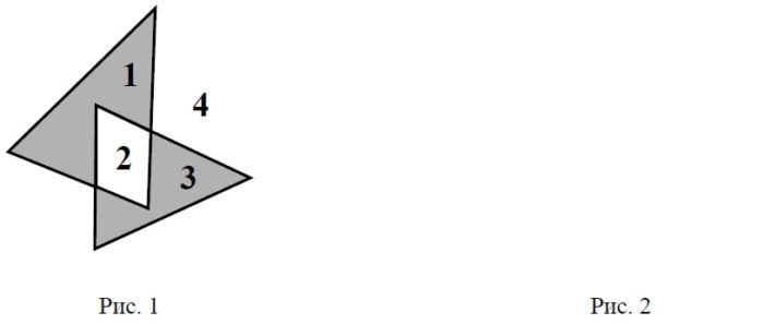 На рис. 1 изображены два треугольника. Они разбивают плоскость на четыре части.