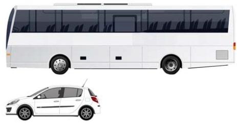 На рисунке изображены автобус и автомобиль.