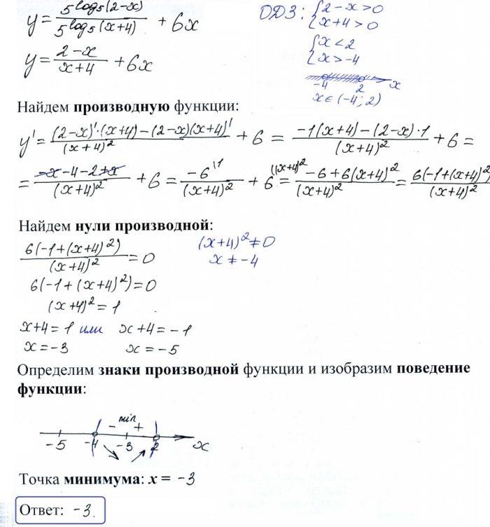 Найдите точку минимума функции y = 5^log5 (2-x)5^log5 (x+4) + 6x