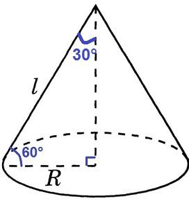 Образующая конуса наклонена к основанию под углом 60º.