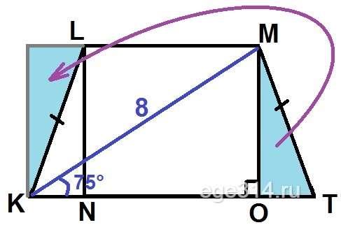 В трапеции KLMT LM || KT, KL = MT, диагональ МК = 8