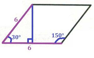 Решение №1595 Сторона ромба равна 6, а один из углов этого ромба равен 150°.