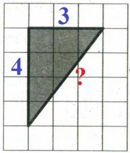 На клетчатой бумаге с размером клетки 1х1 изображён прямоугольный треугольник.
