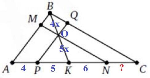 На сторонах AB и BC треугольника ABC выбраны соответственно точки M и Q, а на стороне AC – точки P, K, N