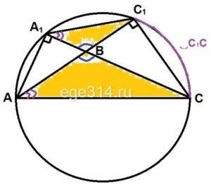 Решение №1141 В треугольнике АВС с тупым углом АВС проведены высоты АА1 и CC1.