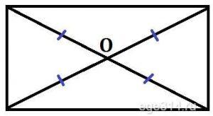 Диагонали прямоугольника точкой пересечения делятся пополам.