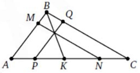 Решение №1583 На сторонах AB и BC треугольника ABC выбраны соответственно точки M и Q ...