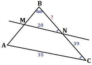 Прямая, параллельная стороне АС треугольника АВС, пересекает стороны АВ и ВС в точках М и N соответственно.