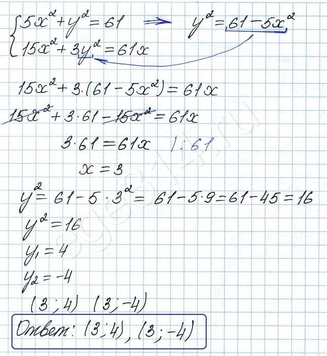 Решите систему уравнений 5х^2 + y^2 = 61 15x^2 + 3y^2 =61x