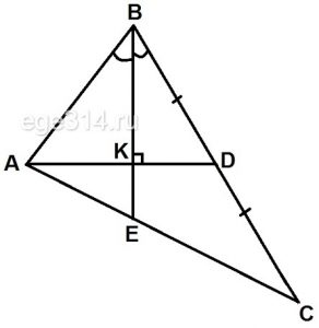 В треугольнике АВС биссектриса ВЕ и медиана АD перпендикулярны и имеют одинаковую длину, равную 96.