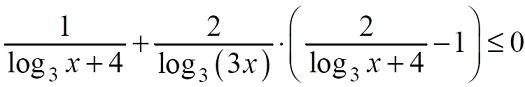 Решение №1639 Решите неравенство 1/(log3 x + 4)+2/log3 (3x)*(2/(log3 x + 4) - 1)<=0
